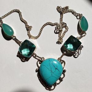 Jewelry - Turquoise, Blue Topaz, Chalcedony necklace
